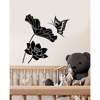 Vinyl Wall Decal Flowers Butterfly Bud Children's Room Stickers (3282ig)