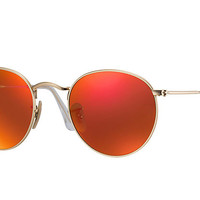 Ray-Ban ROUND FLASH LENSES Gold, Polarized Lenses - RB3447 | Ray-Ban® USA