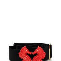 Kate Spade Kissing Seahorse Elastic Belt Light Coral ONE