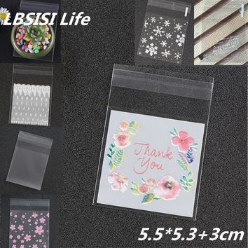 100pcs 5x5+3cm Thank You Snow Flower Small Color Plastic Button Food Candy Bean Jewelry Cookie Packaging Wedding Party Gift Bags