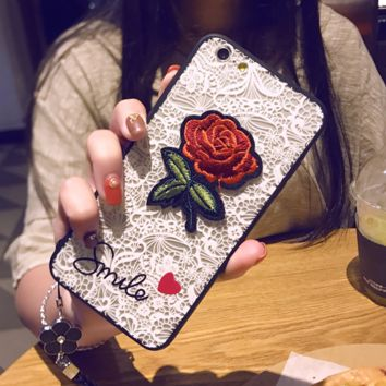 Fashion Roses Embroidery  Lace iPhone Phone Cover Case For iphone 8 8plus iPhone6 6s 6plus 6s-plus iPhone 7 7plus