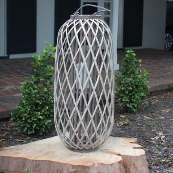 Tall Grey Willow Lantern With Glass ~ Large