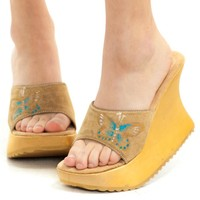 Vintage 90's Butterfly Suede Wedges - US 6
