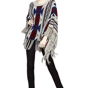 Gray Kimono Pattern Cape With Fringing
