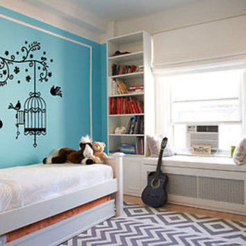 Birds in cage wall decal tree wall decal cage birds girls cute decor nm340