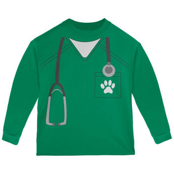 Halloween Vet Veterinarian Scrubs Costume Green Toddler Long Sleeve T-Shirt
