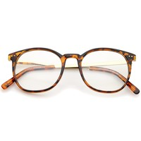 Classic Metal Temple Round Clear Lens Horn Rimmed Glasses 50mm