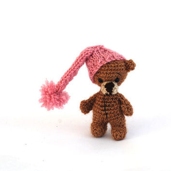 little tatted teddy bear, miniature bear, crocheted tiny bear, wee amigurumi bear, small animal doll, bear doll, tatted bear, pink brown