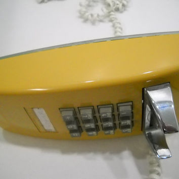 Vintage Mustard Yellow Touch Tone Wall Phone ITT