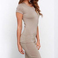 Laurel Canyon Taupe Midi Dress