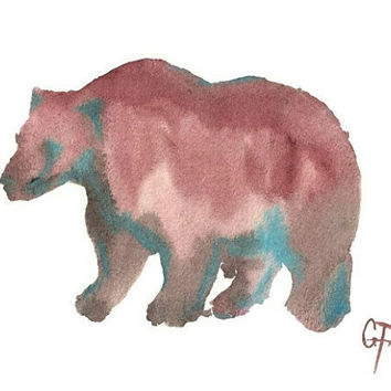 Grizzly Bear Watercolor Art Print - unframed