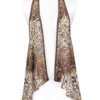 Women's Paisley Print Vestin Brown by Daytrip.
