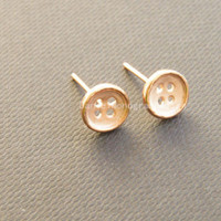 925 Sterling Silver Rose Gold Plated Button earrings,delicate sterling silver earrings