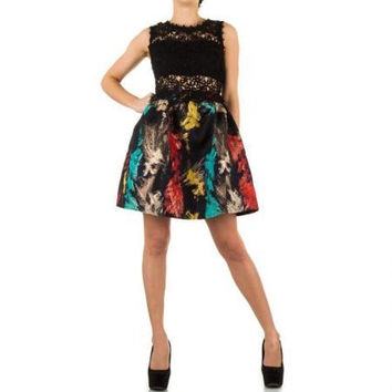 Kelsey All Over Lace Embroidered Crop Top Skater Dress