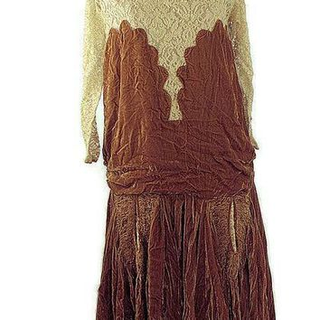 1920 French Crushed Velvet Flapper Party Dress
