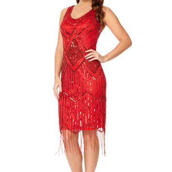 UK12 US8 AUS12 Isobel Red Vintage inspired 1920s Flapper Great Gatsby Beaded Charleston Art Deco Bridesmaid Wedding Guest Dress New HandMade