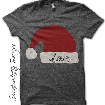 Christmas Iron on Transfer - Iron on Santa Hat Shirt / Christmas Personalized Shirt / Baby Shower Gift / Santa Hat Toddler Tshirt IT281-C