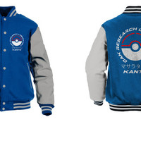 Oak research Kanto varsity jacket inspired by Pokemon sapphire blue edition