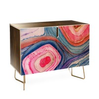 Viviana Gonzalez AGATE Inspired Watercolor Abstract 04 Credenza