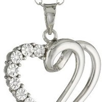Sterling Silver Diamond-Accented Open Heart Pendant Necklace, 18""