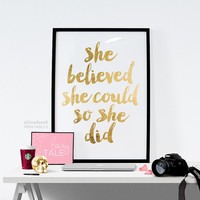 "Printable Art Inspirational Print ""She Believed She Could So She Did"" Typography Quote Home Decor Motivational Poster Scandinavian Wall Art"