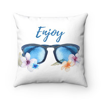 Beach Theme Throw Pillow with Sunglasses and Plumeria Flowers , Beach House Decor