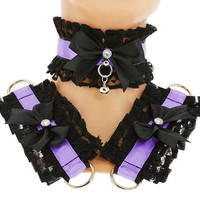 Kitten play collar and cuffs black purple, lolita, ddlg, bdsm collar, kittenplay, pastel gothic, goth kawaii, Pet play, puppy Princess C9