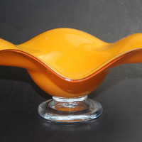 Collectible Art Glass Orange With Black Trim Console Bowl Or Fruit Bowl With Clear Glass Base And Scalloped Edge