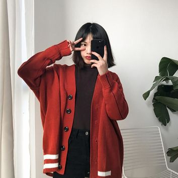 2 colors 2018 Spring and autumn color block stripe sweaters womens cardigan feminino  (A9353)