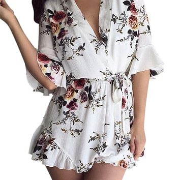 Deep V Neck Floral Print Women Jumpsuit Boho Short Rompers Ruffles Sexy Sashes Playsuit Overall