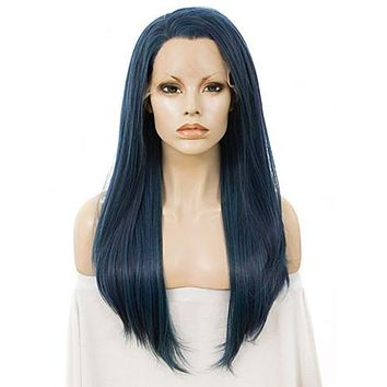 Long Vivianite Dark Blue Straight Synthetic Lace Front Wig