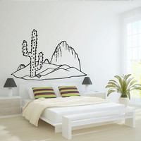 Wall decal decor decals sticker art design vinyl cactus plant flower Africa  barb  desert mountain  landscape bedroom  (m1121)