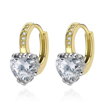 Magical Fancy Hearts Crown Style Setting Snow White Crystals Gold-Silver-Tone Unique Earrings