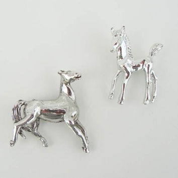 Two Equestrian Horse Pins Mother and Colt Silvertone Figural Jewelry