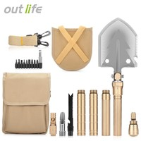 Outlife Multifunctional Military Folding Shovel Portable with Carrying Bag Army Multi-tools for Camping