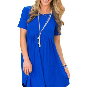 Chicloth Pullover Babydoll Style Casual Dress Blue Short Sleeve
