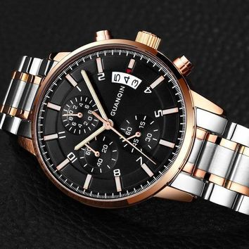 2018 GUANQIN Top Brand Luxury Chronograph Clock Men watches waterproof Men Sport Full Stainless Steel Hour relogio masculino