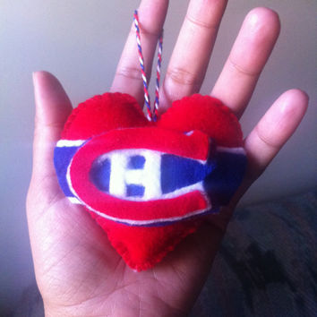 Go Habs go, canadian of montreal ornament felt in heart for Valentine's day for him and her, hockey game, hockey fan, hockey team, gift