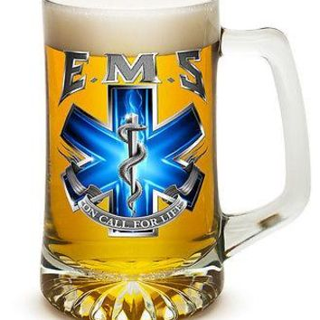 EMS- ON  FOR LIFE- 25 OZ  LARGE TANKARD BEER GLASS