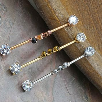 Silver, Gold or Rose Gold Clear Crystal 14g Industrial Barbell