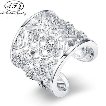 AFJ 2017 Silver/Gold Ring Fashion Jewelry Hollow Cordiform Sculptural Hdpapuwa Grcapija Hollow Heart Opening Rings For Women