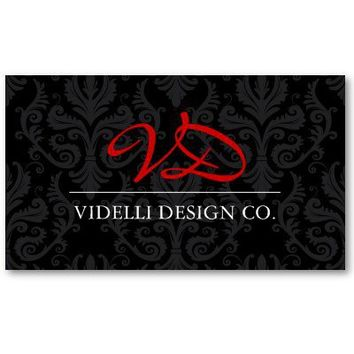 Classy Monogram Damask Business Card from Zazzle.com
