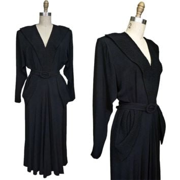 1940s V for Victory Black Rayon Dress with Quilted Neckline and Pockets