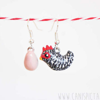 Chicken Barred Rock Earring Farm Animal Polymer Clay Handmade Jewelry Bird Unique Gift Cute Art Handpainted Charm Totem Rustic Idea Earrings
