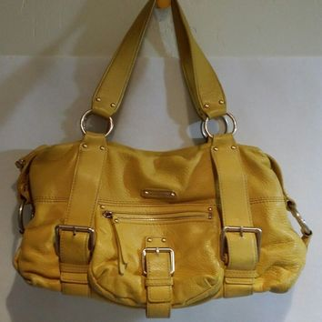 Michael Kors MK Women's Yellow Soft Leather Handbag Hobo Shoulder Bag Distressed