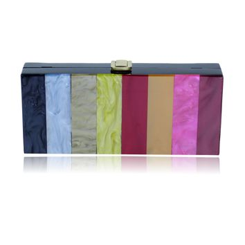 Rainbow Strip Acrylic Box Clutch Purse