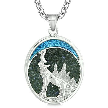 Howling Wolf and Wild Woods Moon Protection Powers Amulet Blue Goldstone Pendant 18 Inch Necklace
