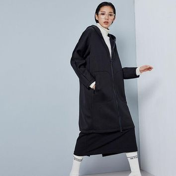 MDIGU3S Fashion Long Trench Coat For Women Autumn Spring Black Trench Coats Outerwear Loose Coat Space Cotton Hooded Trench Coat