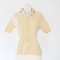 40s Short Sleeve Knit Sweater. SM MED. Pure Wool. Ecru // W. Germany. Size 4 6 8. Collar Button Down. Mid Century Women Vintage Spring Top