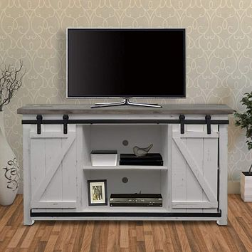 69 Inch Wooden Media Console with Barn Style Sliding Door, Brown and White